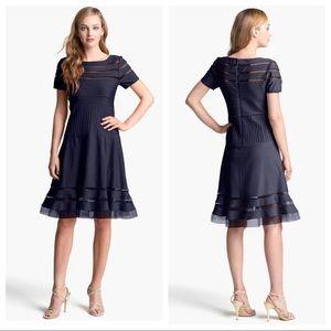 Tadashi Shoji Mesh Stripe Fit & Flare Dress SZ L